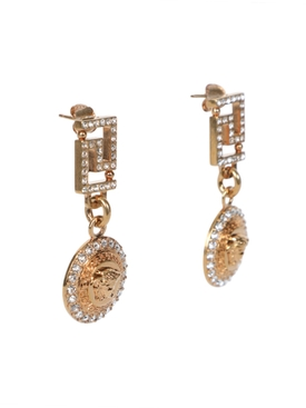 Embellished gold-tone Medusa head earrings