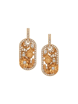 Gold-tone embellished floral earrings