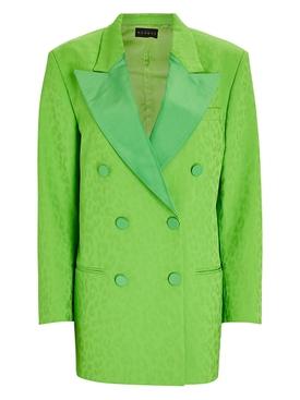 Green leopard print blazer