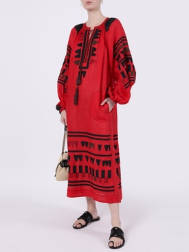 Black and Red Fiji Midi Dress