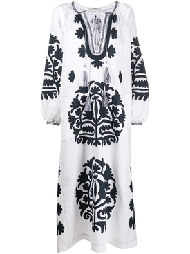 Shalimar linen dress NAVY/WHITE