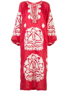 Shalimar linen dress RED CREAM