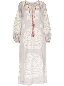 Shalimar linen dress GREY/CREAM
