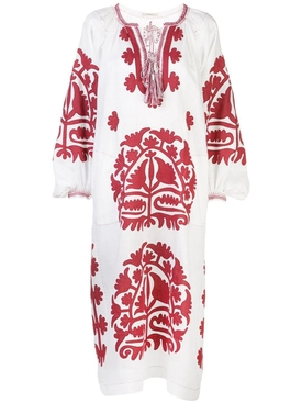 Shalimar linen dress WHITE/ BURGUNDY