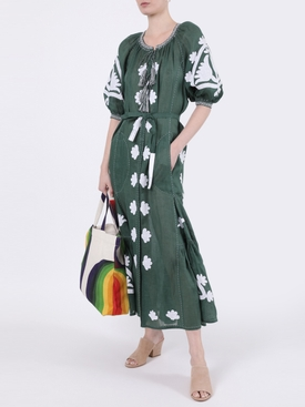 Shalimar Linen Midi Dress GREEN/WHITE