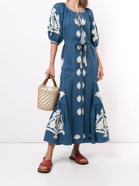 Shalimar Linen Midi Dress COBALT/WHITE