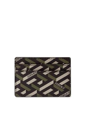 GRECA SIGNATURE COATED CANVAS CARD CASE Black and Kahki