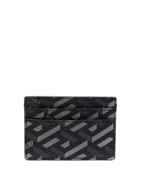 GRECA SIGNATURE COATED CANVAS CARD CASE Black and Grey