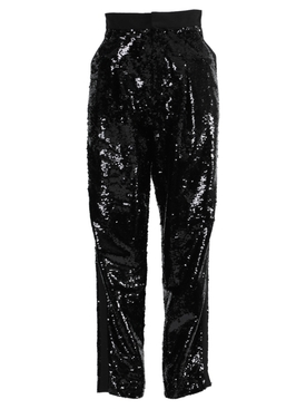 Black high-rise sequin pants