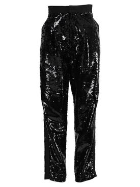 Black high-rise sequin pants