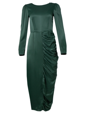 Alexachung - Dark Green Satin Gathered Dress - Women