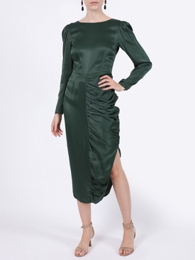 Dark green satin gathered dress