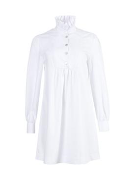 White frill shirt dress