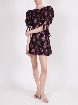 The wrapsody black and fuchsia mini dress