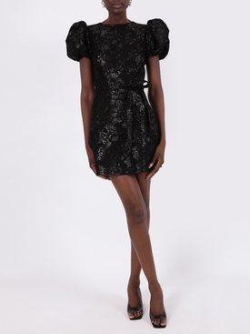 Black lace scoop mini dress
