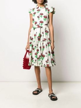 Multicolored Cactus Print Midi Dress