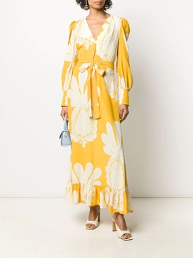 Yellow Big Pineapple Maxi Dress