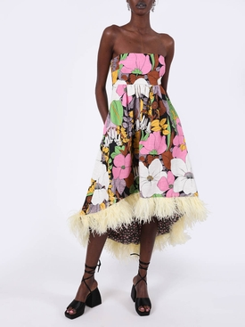 Multicolored Floral Feather Midi Dress