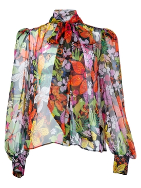 Dundas - Sheer Floral Pussy Bow Blouse - Women