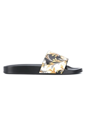 White, black, and gold barocco print pool slides