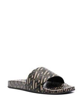 The Greca Flap Sandal BLACK AND KHAKI