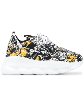 White, black, and gold barocco print mid-top sneakers
