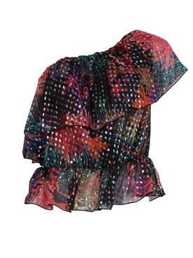 Multicolored asymmetric one-shoulder ruffle top