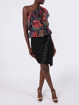 Multicolored asymmetric one-shoulder ruffle top