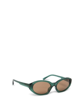 OVAL SUNGLASSES DARK GREEN AND BROWN