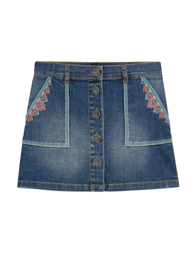 Kids Embroidered Denim Skirt
