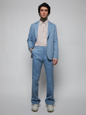 WOOL COTTON WIDE FIT TROUSERS, SKY BLUE