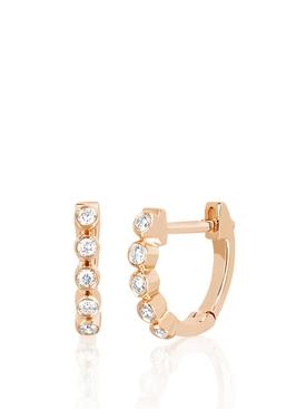 14KT MINI DIAMOND BEZEL HUGGIE EARRINGS