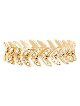 14KT DIAMOND LEAF RING