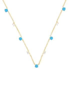 14KT MULTI TURQUOISE AND DIAMOND NECKLACE