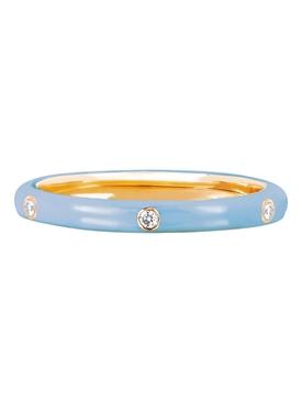 14KT 3 DIAMOND BABY BLUE ENAMEL STACK RING