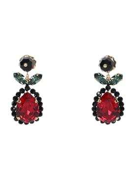Flower crystal drop earrings RED