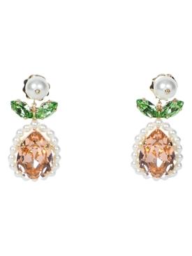 Flower crystal drop earrings NEUTRAL