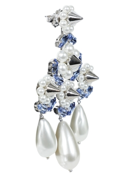 Pearl Triple Drop Chandelier Earrings