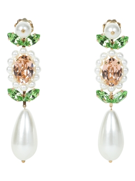 Crystal embellished pear drop earrings WHITE/GREEN