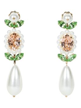 Crystal embellished pear drop earrings WHITE GREEN