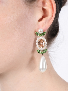 Crystal embellished pear drop earrings WHITE GREEN
