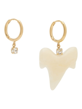 Tooth and crystal hoop earrings