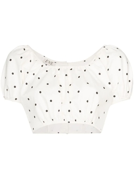 Polka Dot Print Cropped Top
