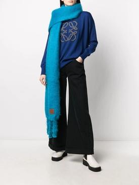 Caribbean blue mohair scarf