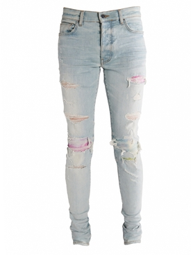 Light Blue Distressed Watercolor Jeans