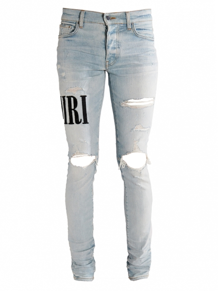 Amiri Distressed Embroidered Logo Jeans Light Indigo