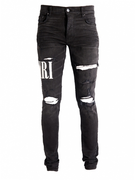 Distressed Embroidered Logo Jeans AGED BLACK