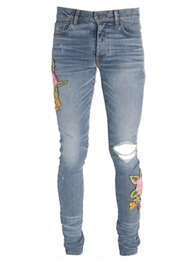 Distressed Flower Patch Denim Jeans