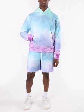 Watercolor print cotton hoodie