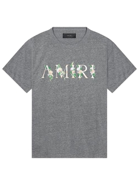 Floral logo detail t-shirt HEATHER GREY